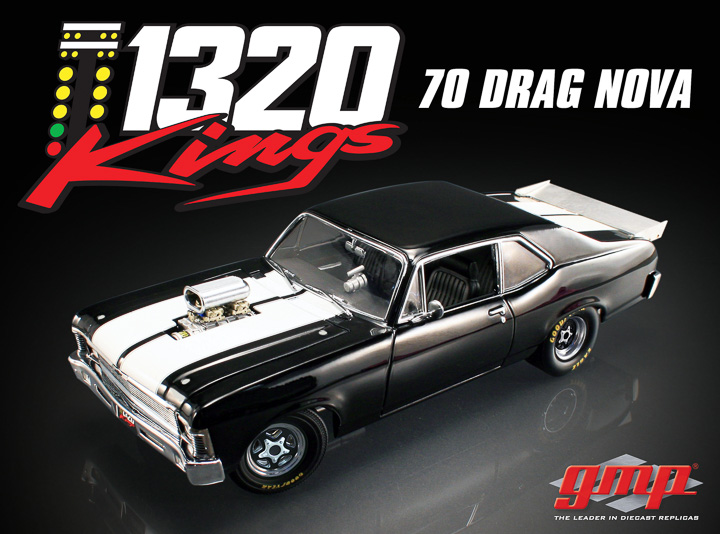 18808 - 1:18 GMP - 1:18 1970 Chevrolet Nova 1320 Drag series - Black with White stripes