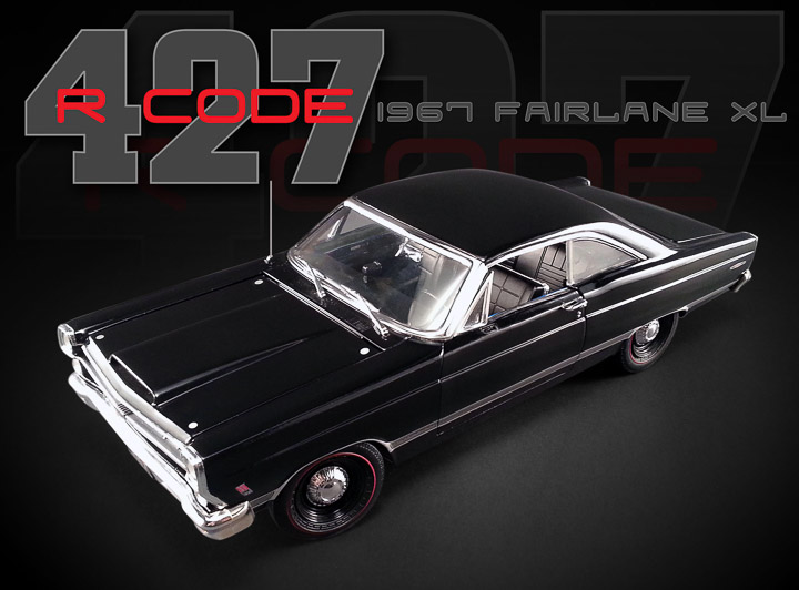 18803 - 1:18 GMP - 1:18 1967 Ford Fairlane 427 R - Black, 427 engine